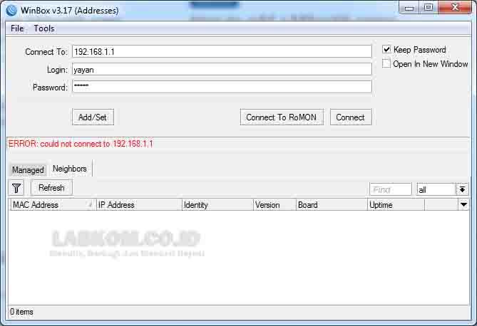 Solusi untuk pesan error ketika login pada Winbox Mikrotik