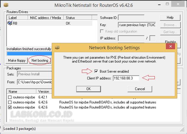 Cara Install/Upgrade/Downgrade Mikrotik Dengan Netinstall