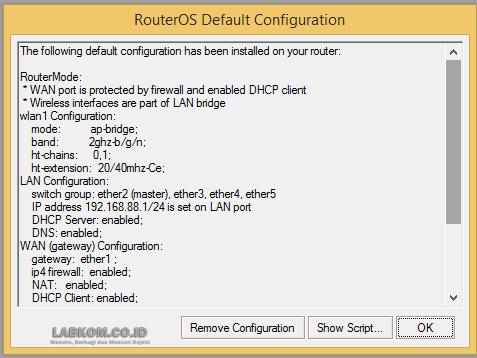 Mikrotik RouterOs Default Configuration