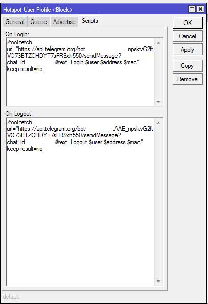 Monitoring Telegram User Hotspot Ketika Login dan Logout Menggunakan