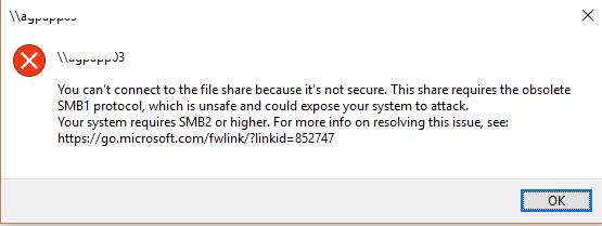 Tidak dapat mengakses sharing folder di Windows 2003 ke Windows 10
