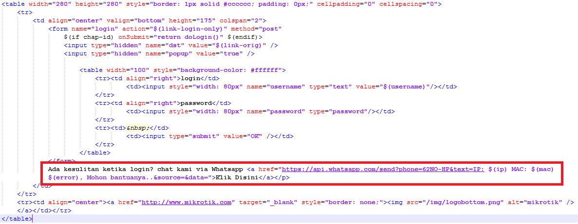 login page mikrotik script