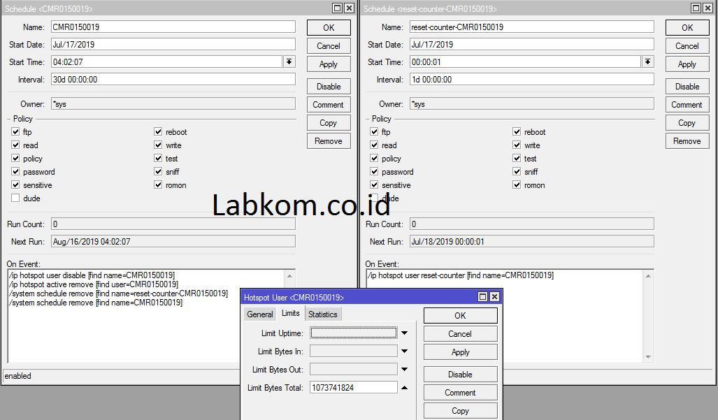 Batasi User Hotspot 1Gb Perhari Dengan Masa Aktif 1 Bulan Tanpa Userman Mikrotik